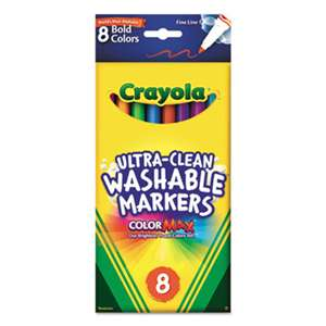 BINNEY & SMITH / CRAYOLA Washable Markers, Fine Point, Bold Colors, 8/Set
