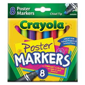 BINNEY & SMITH / CRAYOLA Washable Poster Markers, Assorted, 8/Pack
