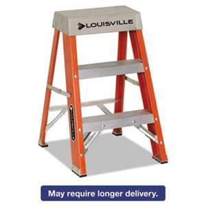 "LOUISVILLE Fiberglass Heavy Duty Step Ladder, 28 3/8"", 2-Step, Orange"