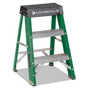 LOUISVILLE #624 Folding Fiberglass Locking 2-Step Stool, 17w x 22 Spread x 24h