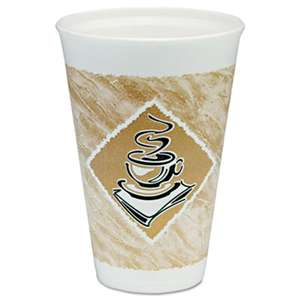 DART Caf' G Hot/Cold Cups, Foam, 16 oz, White/Brown with Green Accents, 25/Pack