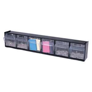 DEFLECTO CORPORATION Tilt Bin Plastic Storage System w/6 Bins, 23 5/8 x 3 5/8 x 4 1/2, Black