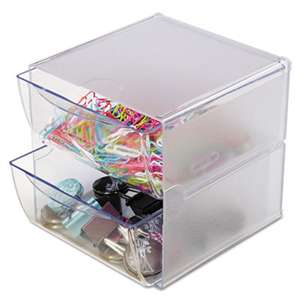 DEFLECTO CORPORATION Two Drawer Cube Organizer, Clear Plastic, 6 x 7-1/8 x 6