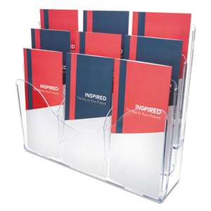 DEFLECTO CORPORATION Three-Tier Document Organizer With Dividers, 14w x 3 1/2d x 11 1/2h, Clear