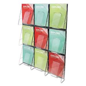 DEFLECTO CORPORATION Multi-Pocket Wall-Mount Literature Systems, 27 1/2w x 35 5/8h, Clear/Black