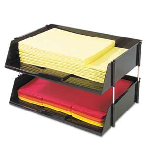 DEFLECTO CORPORATION Industrial Stacking Tray Set, Two Tier, Plastic, Black
