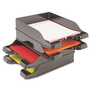 deflecto 63904 Docutray Multi-Directional Stacking Tray Set, Two Tier, Polystyrene, Black