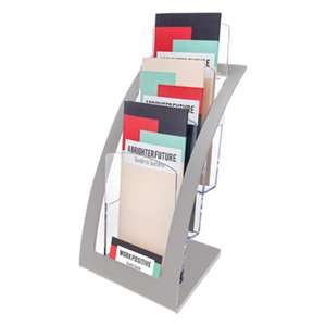 DEFLECTO CORPORATION Three-Tier Leaflet Holder, 6 3/4w x 6 15/16d x 13 5/16h, Silver
