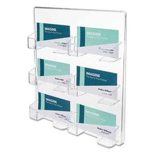 deflecto 70601 Six-Pocket Wall Mount Business Card Holder, 8 3/8 x 1 1/2 x 9 3/4, Clear