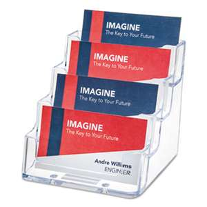 deflecto 70841 Four-Pocket Countertop Business Card Holder, Holds 2 x 3 1/2 Cards, Clear