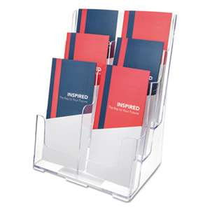 deflecto 77401 Multi Compartment DocuHolder, Six Compartments, 9w x 7-1/2d x 13-3/4h, Clear