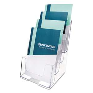 DEFLECTO CORPORATION Multi Compartment DocuHolder, Four Compartments, 6 7/8w x 6 1/4d x 10h, Clear