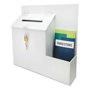 DEFLECTO CORPORATION Plastic Suggestion Box with Locking Top, 13 3/4 x 3 5/8 x 13 15/16, White