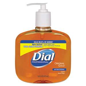 DIAL PROFESSIONAL Gold Antimicrobial Liquid Hand Soap, Floral Fragrance, 16oz Pump Bottle