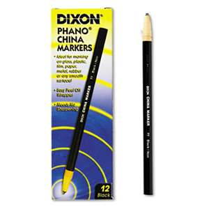 DIXON TICONDEROGA CO. China Marker, Black, Dozen