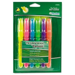 DIXON TICONDEROGA CO. Emphasis Desk Style Highlighter, Chisel Tip, 6/Set