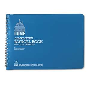 DOME PUBLISHING COMPANY Simplified Payroll Record, Light Blue Vinyl Cover, 7 1/2 x 10 1/2 Pages