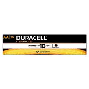 Duracell AACTBULK36 CopperTop Alkaline Batteries with Duralock Power Preserve Technology, AA, 36/Pk