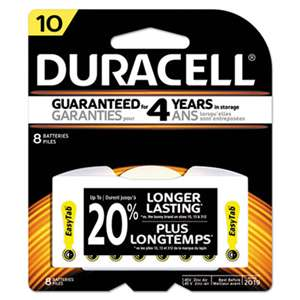 Duracell DA10B8ZM10 Lithium Medical Battery, 3V, #10, 8/Pk