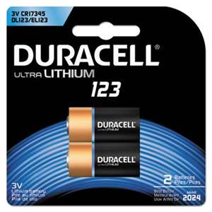 Duracell DL123AB2BPK Ultra High-Power Lithium Battery, 123, 3V, 2/Pack