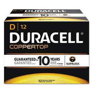 Duracell MN1300 CopperTop Alkaline Batteries with Duralock Power Preserve Technology, D, 12/Box