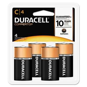 Duracell MN1400R4ZX17 CopperTop Alkaline Batteries with Duralock Power Preserve Technology, C, 4/Pk