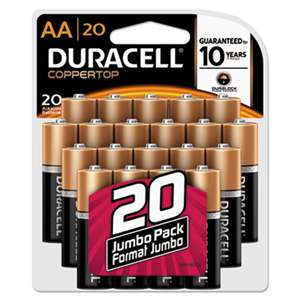 Duracell MN1500B20Z CopperTop Alkaline Batteries with Duralock Power Preserve Technology, AA, 20/Pk