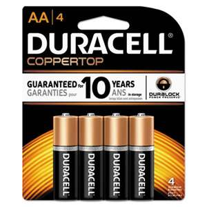 Duracell MN1500B4Z CopperTop Alkaline Batteries with Duralock Power Preserve Technology, AA, 4/Pk