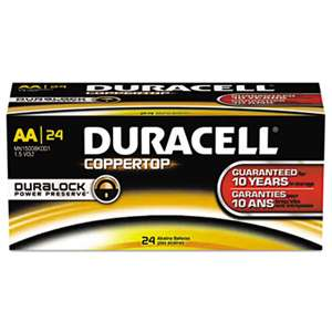 Duracell MN1500BKD CopperTop Alkaline Batteries with Duralock Power Preserve Technology, AA, 144/CT
