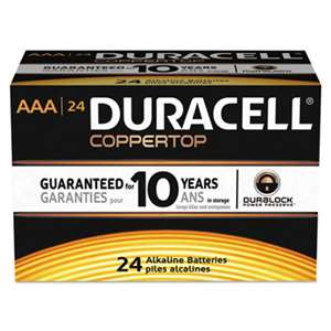 Duracell MN2400B24000 CopperTop Alkaline Batteries with Duralock Power Preserve Technology, AAA, 24/Bx
