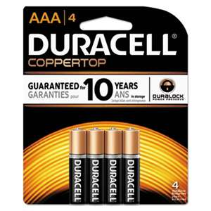 Duracell MN2400B4Z CopperTop Alkaline Batteries with Duralock Power Preserve Technology, AAA, 4/Pk