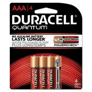 Duracell QU2400B4Z Quantum Alkaline Batteries with Duralock Power Preserve Technology, AAA, 4/Pk