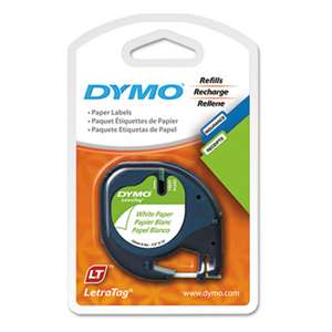 "DYMO 10697 LetraTag Paper Label Tape Cassettes, 1/2"" x 13ft, White, 2/Pack"