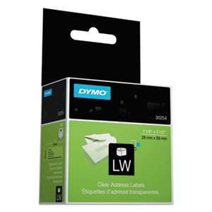 DYMO 30254 LabelWriter Address Labels, 1 1/8 x 3 1/2, Clear, 130 Labels/Roll