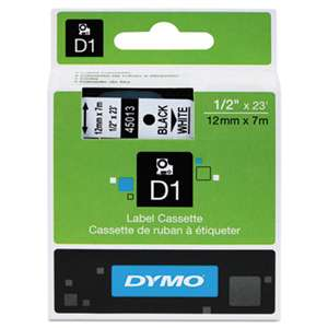 DYMO 45013 D1 Polyester High-Performance Removable Label Tape, 1/2in x 23ft, Black on White