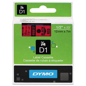 DYMO 45017 D1 Polyester High-Performance Removable Label Tape, 1/2in x 23ft, Black on Red
