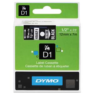 DYMO 45021 D1 Polyester High-Performance Removable Label Tape, 1/2in x 23ft, White on Black