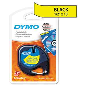 "DYMO 91332 LetraTag Plastic Label Tape Cassette, 1/2"" x 13ft, Yellow"