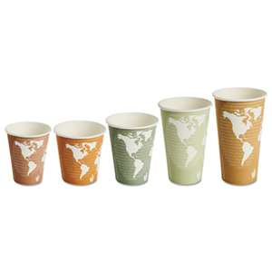 ECO-PRODUCTS,INC. World Art Renewable/Compostable Hot Cups, 8 oz, Plum, 50/Pack