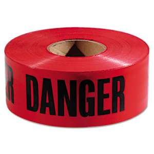 "EMPIRE LEVEL Danger Barricade Tape, ""Danger"" Text, 3"" x 1000ft, Red/Black"