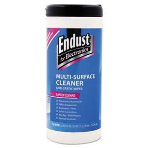 "ENDUST Antistatic Premoistened Wipes for Electronics, Cloth, 6"" x 6"", 70/Tub"