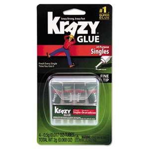 ELMER'S PRODUCTS, INC. Krazy Glue Single-Use Tubes w/Storage Case, 0.07 oz, 4/Pack