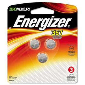 Energizer 357BPZ3 Watch/Electronic Battery, SilvOx, 357, 1.5V, MercFree, 3/Pk
