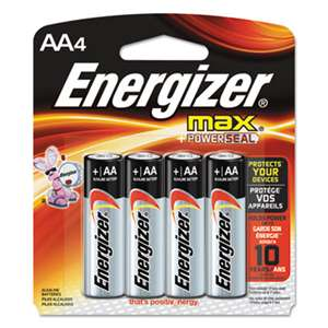 Energizer E91BP4 MAX Alkaline Batteries, AA, 4 Batteries/Pack