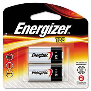 Energizer EL123APB2 Lithium Photo Battery, 123, 3V, 2/Pack