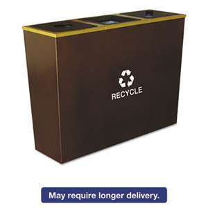 EXCELL METAL PRODUCTS CO Metro Collection Recycling Receptacle, Triple Stream, Steel, 54gal, Brown