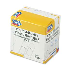 "FIRST AID ONLY, INC. Plastic Adhesive Bandages, 1"" x 3"", 100/Box"