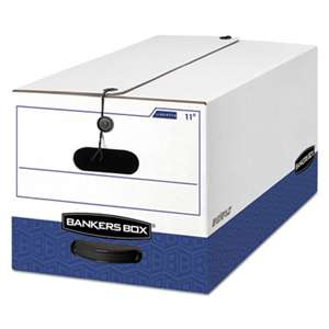 FELLOWES MFG. CO. LIBERTY Heavy-Duty Strength Storage Box, Letter, 12 x 24 x 10, White/Blue, 4/CT