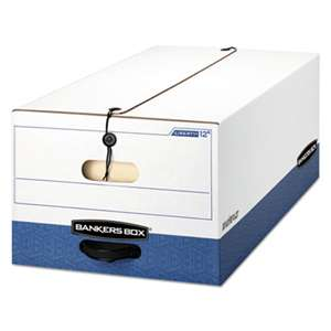 FELLOWES MFG. CO. LIBERTY Heavy-Duty Strength Storage Box, Legal, 15 x 24 x 10, White/Blue, 12/CT