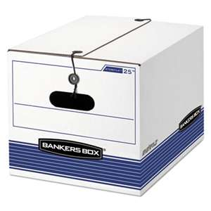 FELLOWES MFG. CO. STOR/FILE Storage Box, Legal/Letter, Tie Closure, White/Blue, 4/Carton